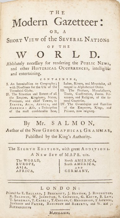 Salmon, Thomas. The Modern Gazetteer: Or, A Short View of the Several Nations of the World, eighth - Image 2 of 3