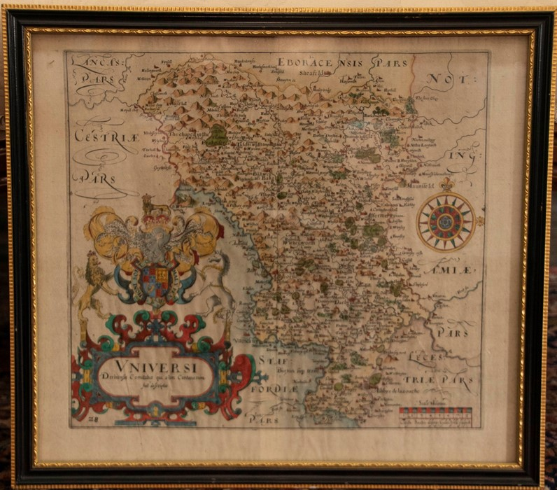 Saxton & Hole. Map of Derbyshire, [c.1637], hand-coloured copper engraving on laid/chain-lined - Image 2 of 2
