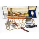 A collection of watches to include a vintage 9ct gold ladies Sumit wristwatch, square dial with