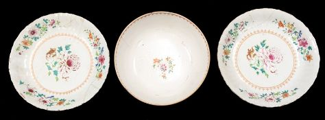 Qianlong (1711-1799), a pair of of famille rose chargers, approx 32cm diam; together with a