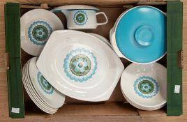 J C Meakin studio pottery part dinner set, comprising dinner plates, dessert plates, side plates,