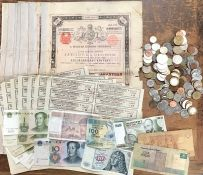 Coin collection with 7 Hungarian Bonds with slips Cancelled by the British Government in 1921, with