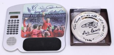 A signed mouse mat, 1966 World Cup, including: Martin Peters, Ray Wilson, Alan Ball, Nobby Stiles,