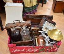 A collector's lot to include: Tantalus with moulded glass decanters, various decorative prints;