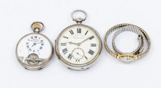 A silver English Lever open faced pocket watch, cream dial with roman numeral markers, subsidiary