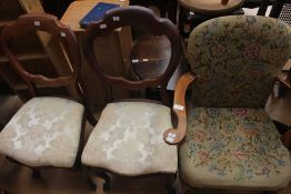 A collection of furniture, comprising a pair of Victorian mahogany balloon back chairs, an early