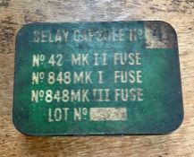 British Delay Capsule No.4 tin for the No.42 Mk II Fuse (15 second fuze), No.848 Mk I and No.848