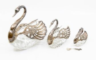 A set of three graduated late 20th century silver mounted glass Swan dishes, London import marks for