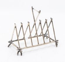 An electroplated 7 bar toast rack in the Dresser style, cross batton form, WilliamDeykin & Sons