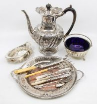 A late Victorian pierced trinket dish, silver plated coffee pot, tray, cutlery etc