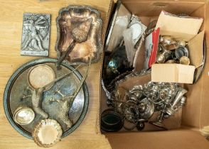 Collection of silver plated items in Pheasant table decoration trays, picture frames, candle