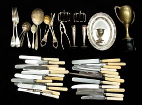 A quantity of plate, EPNS flatware to include: bone handled knives, servers, spoons, toast rack, nut