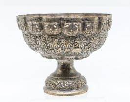 An Asian silver 800 standard raised bowl, lobed silver sides with openwork border chased and