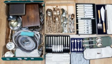 A collection of silver plate, EPNS, EP to include: various boxed flatware (carving sets, fish knives