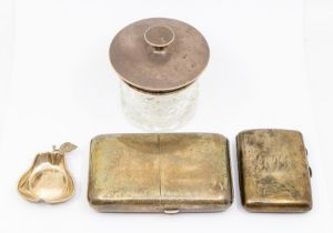 A collection of silver to include: George V cushion shaped cigarette case, hinged cover opens