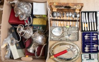 Collection of silver plate wares including boxed items Mappin + Webb tea sets, food trays, napkin