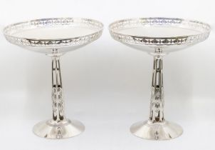 A pair of WMF electroplated pedestal bowls, pierced galley rims. The bowls are standing on hollow