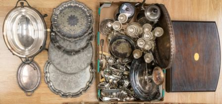 Collection of silver plated items including 19th and early 20th century flatwares, trays, food