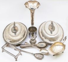An Edwardian large silver trumpet shaped vase, London 1909, together with a collection of EPNs and