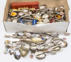A collection of assorted silver and silver plated souvenir & commemorative tea and coffee spoons,
