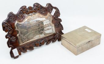 A Chinese Silver cigar box, engine turned decoration, cedar lines, stamped Nanking to case, size