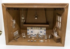 A collection of Victorian style novelty miniature silver kitchenware to include: Dresser with set of