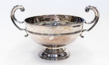 Agricultural Interest: a large two handled presentation plated cup, with inscription for: Launceston