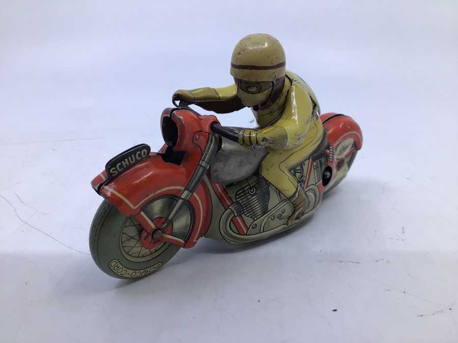 Schuco: A boxed Schuco Motodrill 1006 tinplate clockwork motorcycle. Good condition but missing - Image 3 of 5