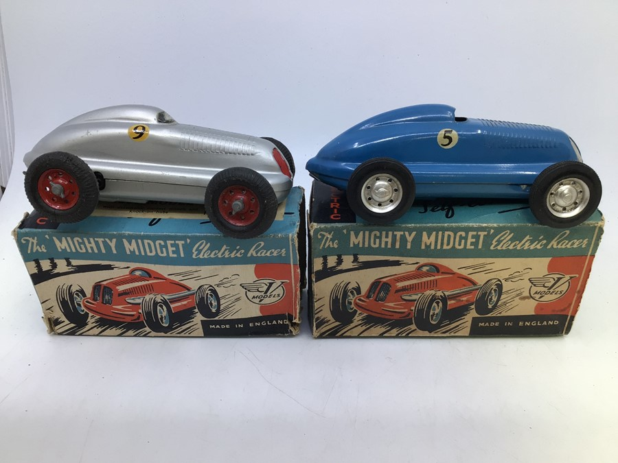 Mighty Midget: A pair of boxed Victory Industries, Mighty Midget, battery operated vehicles, one