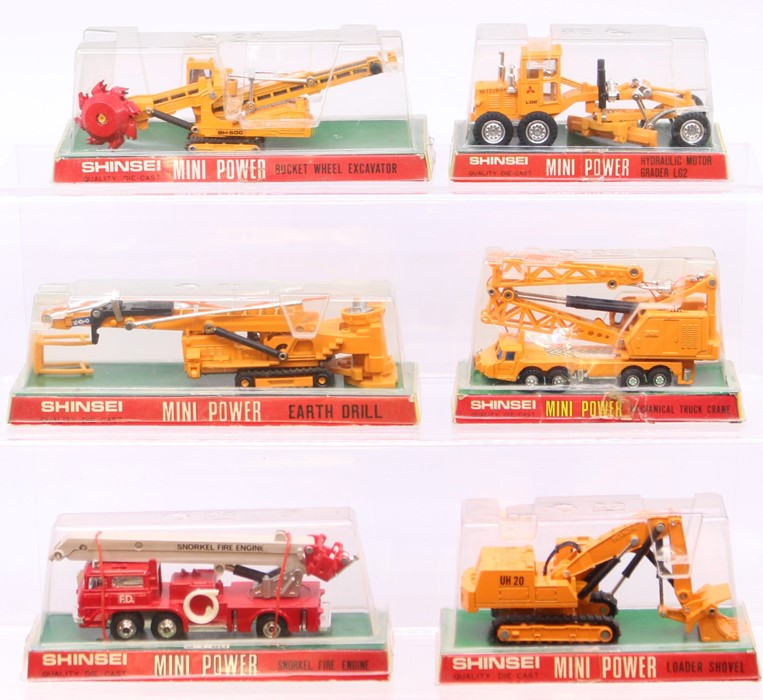 Shinsei: A collection of five bubbled Shinsei diecast construction vehicles to comprise: Bucket