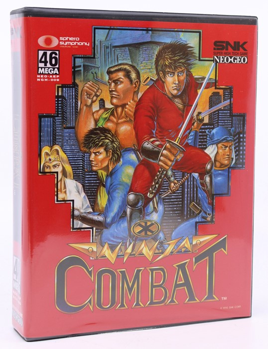 Neo Geo: A cased Neo Geo AES, Ninja Combat, original case, appears sealed, including Game