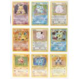 Pokemon: A complete Pokemon Base Card Set, comprising 102 cards, including a 1st Edition Holo