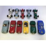 VIP Raceways: A collection of eleven unboxed VIP Raceways vehicles to include: Lotus, BRM, MGA,