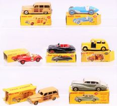 Dinky: A collection of seven boxed Dinky Toys to comprise: Estate Car (Plymouth), 344, two-tone