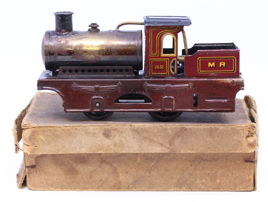 Bing: A boxed, early 20th century, Bing, live steam locomotive, 0-4-0, No. 2632, M.R., maroon livery