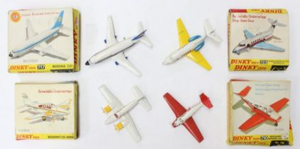 Dinky: A collection of four boxed Dinky aircraft to comprise: Boeing 737, 717; Hawker Siddeley HS125