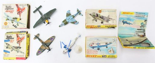 Dinky: A collection of four boxed Dinky aircraft to comprise: Sea King Helicopter, 724; Spitfire