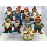 Chad Valley: Snow White and the Seven Dwarfs, soft body, felt clothing, c1935. Stitched Labels