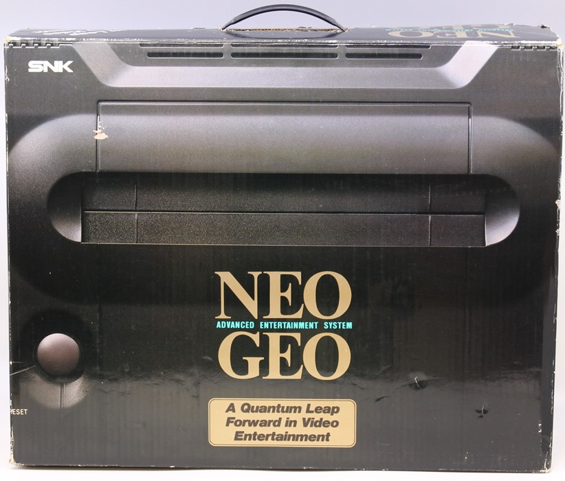 Neo Geo: A boxed Neo Geo Advanced Entertainment System Console, complete with certificate matching