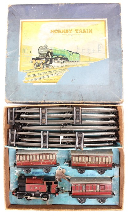 Hornby: A boxed Hornby O gauge, Tank Passenger Set, No. 101, red LMS locomotive, No. 2270 and