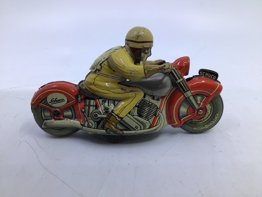 Schuco: A boxed Schuco Motodrill 1006 tinplate clockwork motorcycle. Good condition but missing - Image 2 of 5
