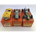 VIP Raceways: A collection of three boxed VIP Raceways vehicles to comprise: MGA, R64, #9, yellow