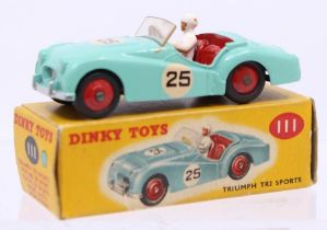 Dinky: A boxed Dinky Toys, Triumph TR2 Sports, 111, turquoise body, with correct box colour spot, #
