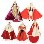 Liberty: A collection of five rare 1930s Liberty dolls to comprise: Lord Chief Justice, Queen