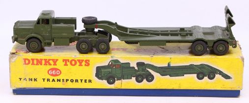 Dinky: A boxed Dinky Toys, Tank Transporter, 660, in original yellow box, complete with packing