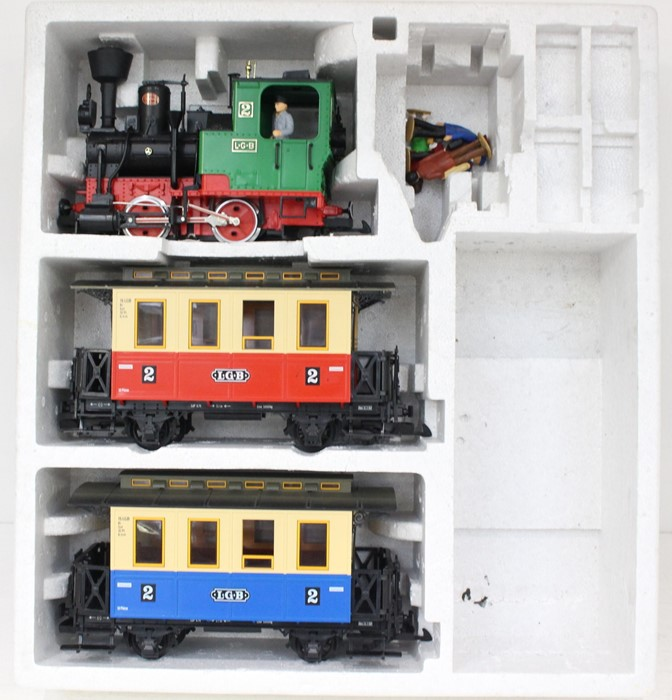 LGB: A boxed LGB Train Set, 70301, comprising 0-4-0 locomotive, and two coaches, no track, - Image 2 of 2
