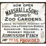 """Marshall & Sons: An early 20th century, Marshall & Sons, Oxford St, Ripley, enamel sign, """"Now"""