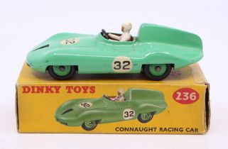 Dinky: A boxed Dinky Toys, Connaught Racing Car, 236, light green body, #32, original box, slight