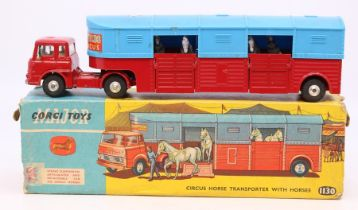 Corgi: A boxed Corgi Toys, Chipperfields Circus Horse Transporter with Horses, 1130, red and blue
