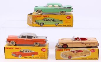 Dinky: A boxed Dinky Toys, Packard Clipper Sedan, 180, orange body with grey roof, correct colour